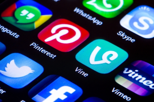 Social media icons vine pinterest and other on smart phone